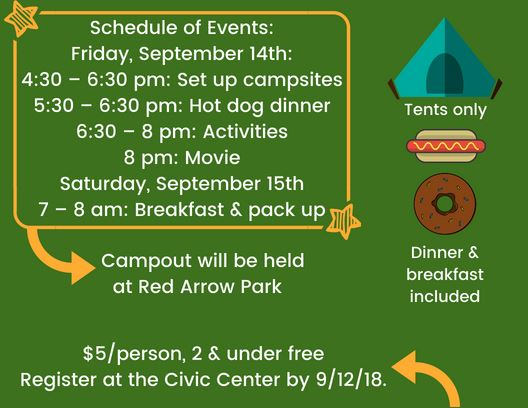 Family Fun Campout Schedule