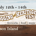 logging and heritage festival banner marinette wisconsin